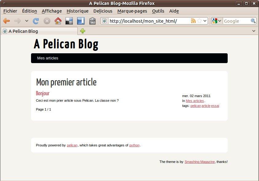 mon premier site sous pelican